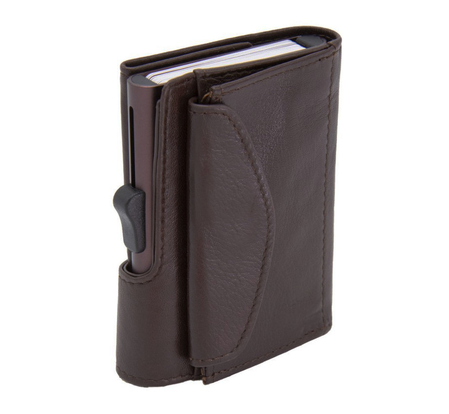 C-secure XL Coin Wallet mogano
