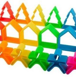 Dëna Dëna 6 kindjes + 6 huisjes + 6 boompjes Neon