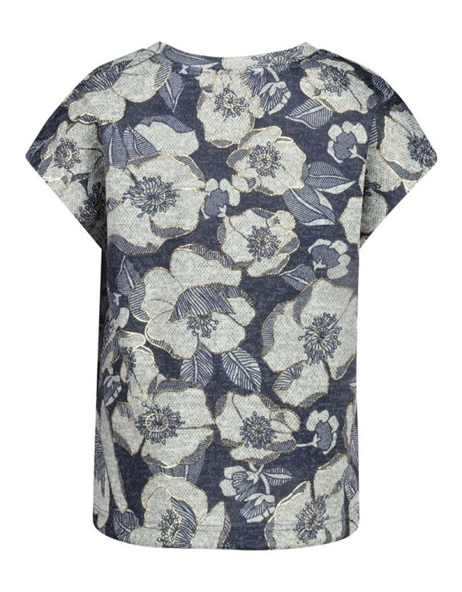 Too Many Bunnies T-shirt Flower blauw/ gold