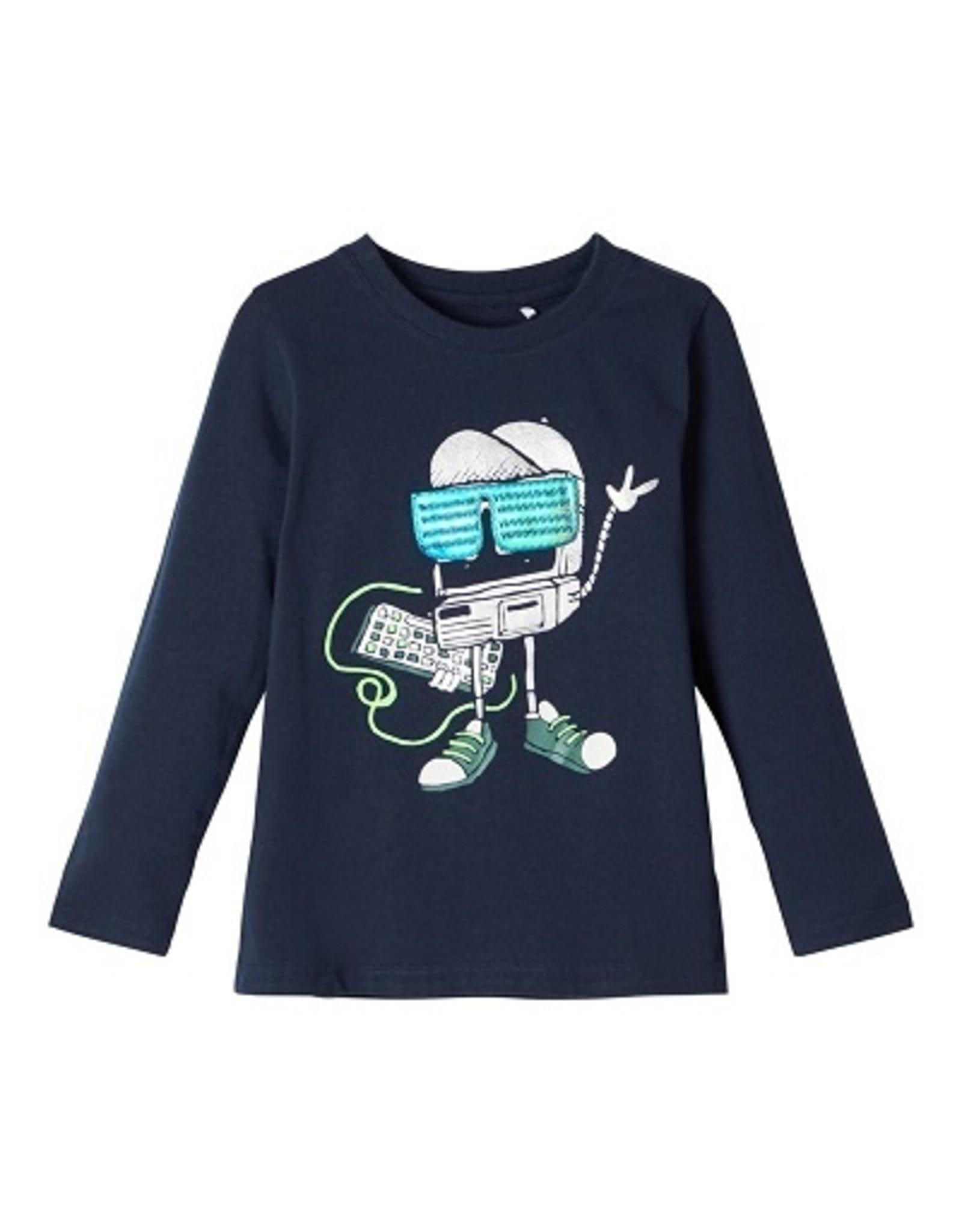 Name It T-shirt navy robotprint NMMBOBOTTI