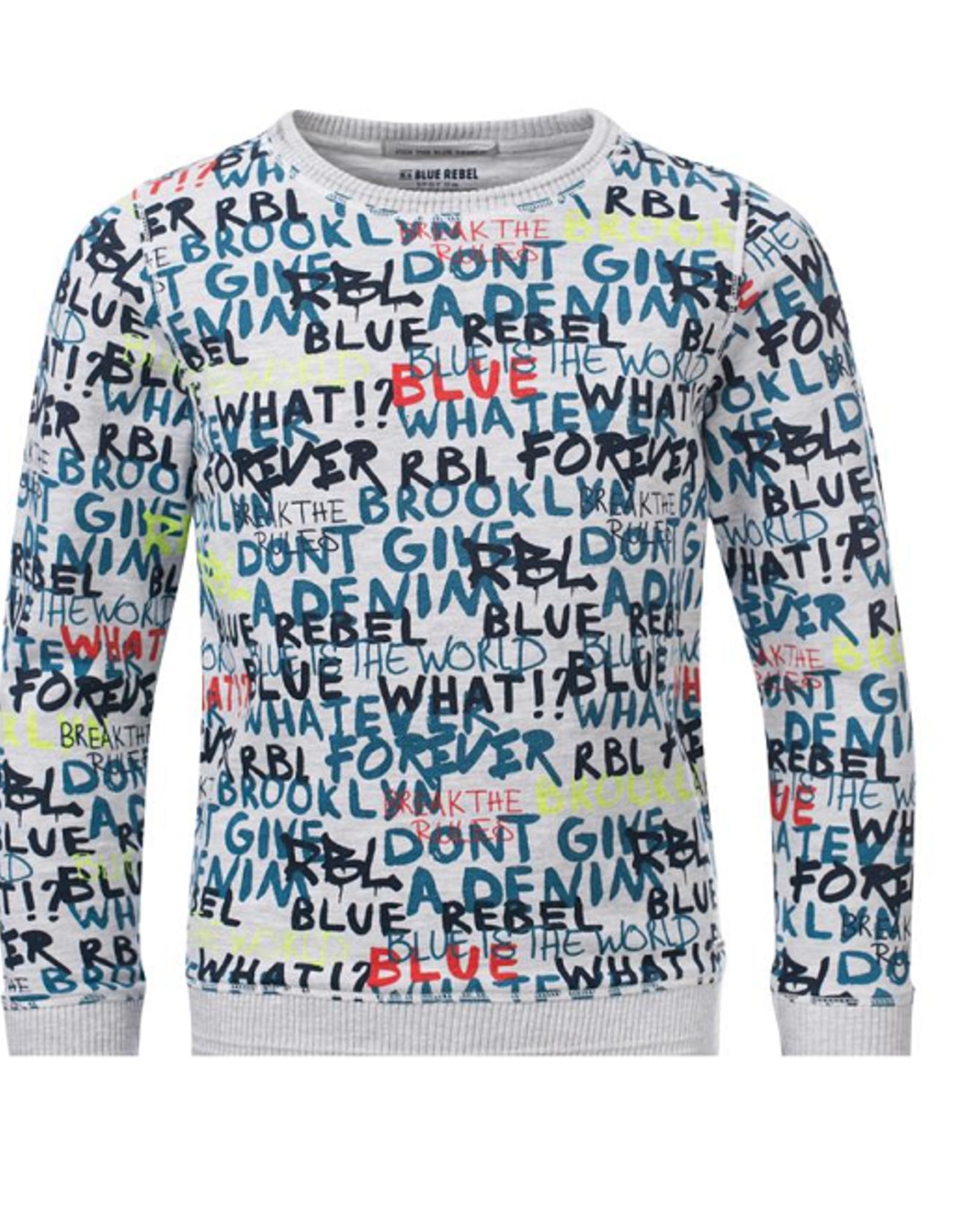 Blue Rebel Sweater grijs tekst 0134005