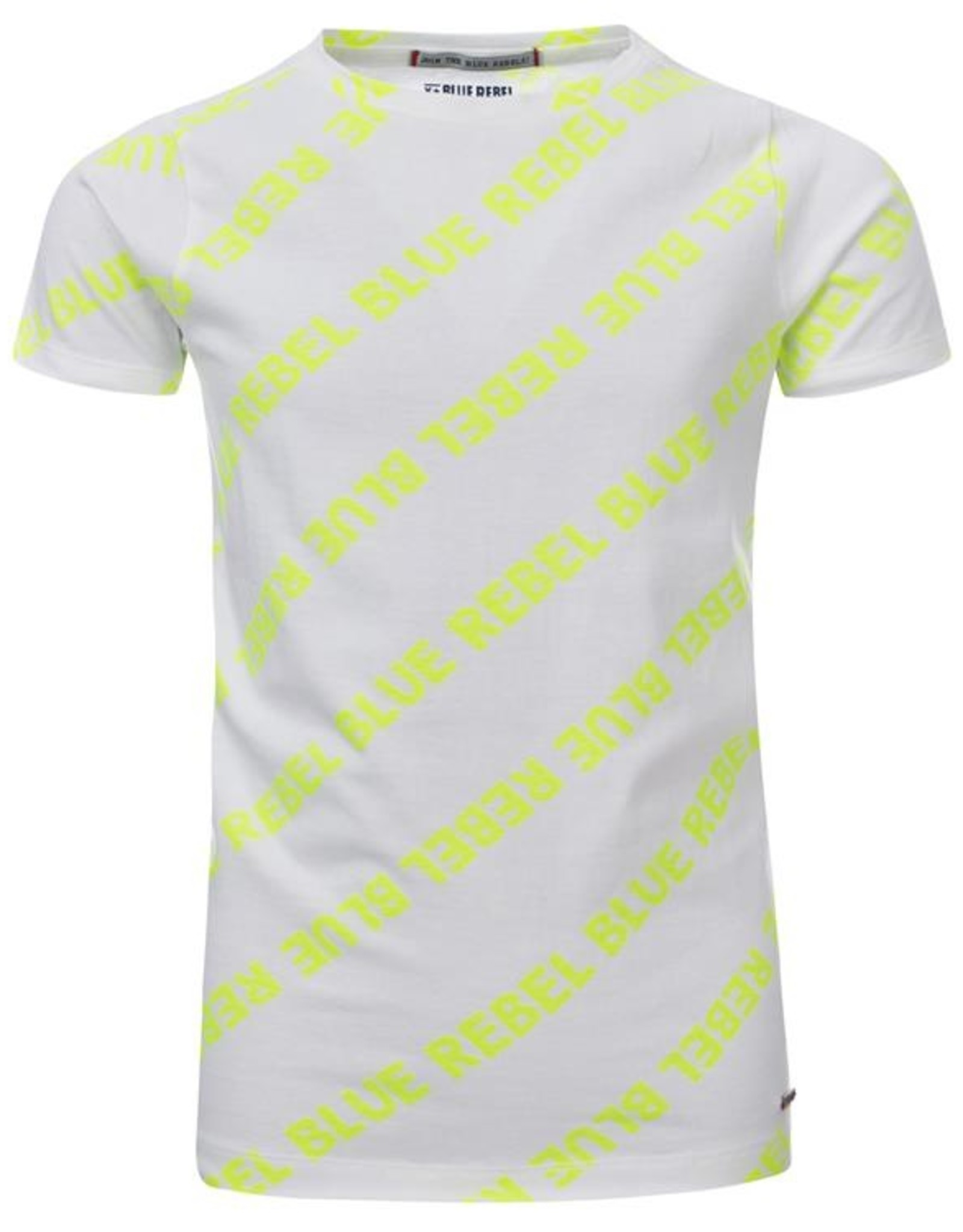 Blue Rebel Jongens t-shirt wit /fluogeel tekst  0136010