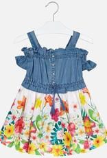 Mayoral Jeans/bloem kleedje 3956