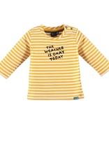 Babyface Jongens t-shirt LM oker streep met quote