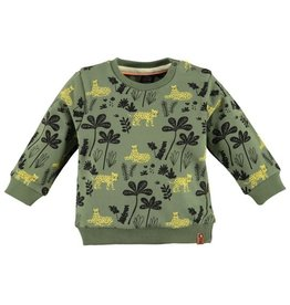 Babyface Jongens sweater kaki alloverprint 'jungle'