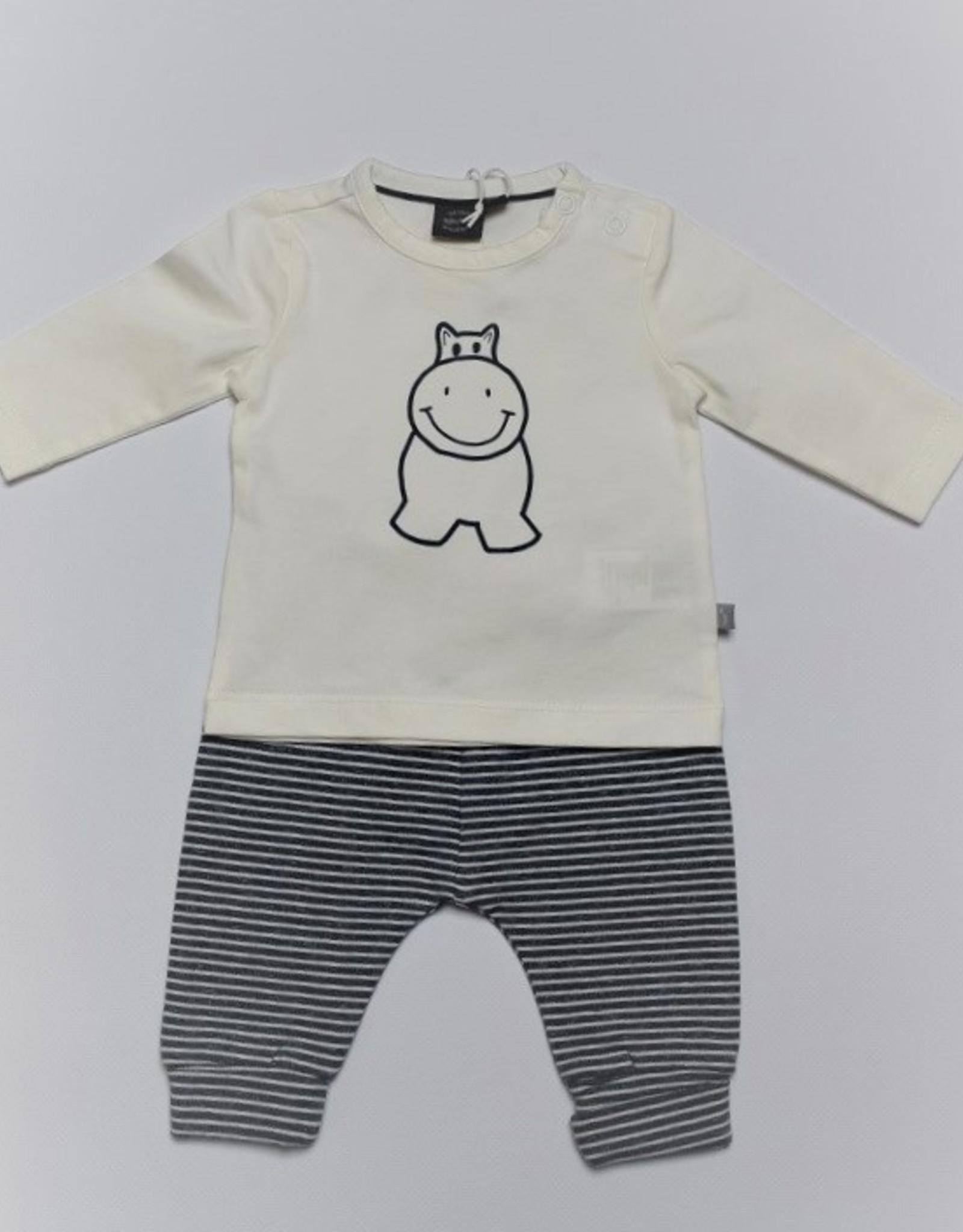 Babyface Unisex setje T-shirt ecru + broekje navy streepje