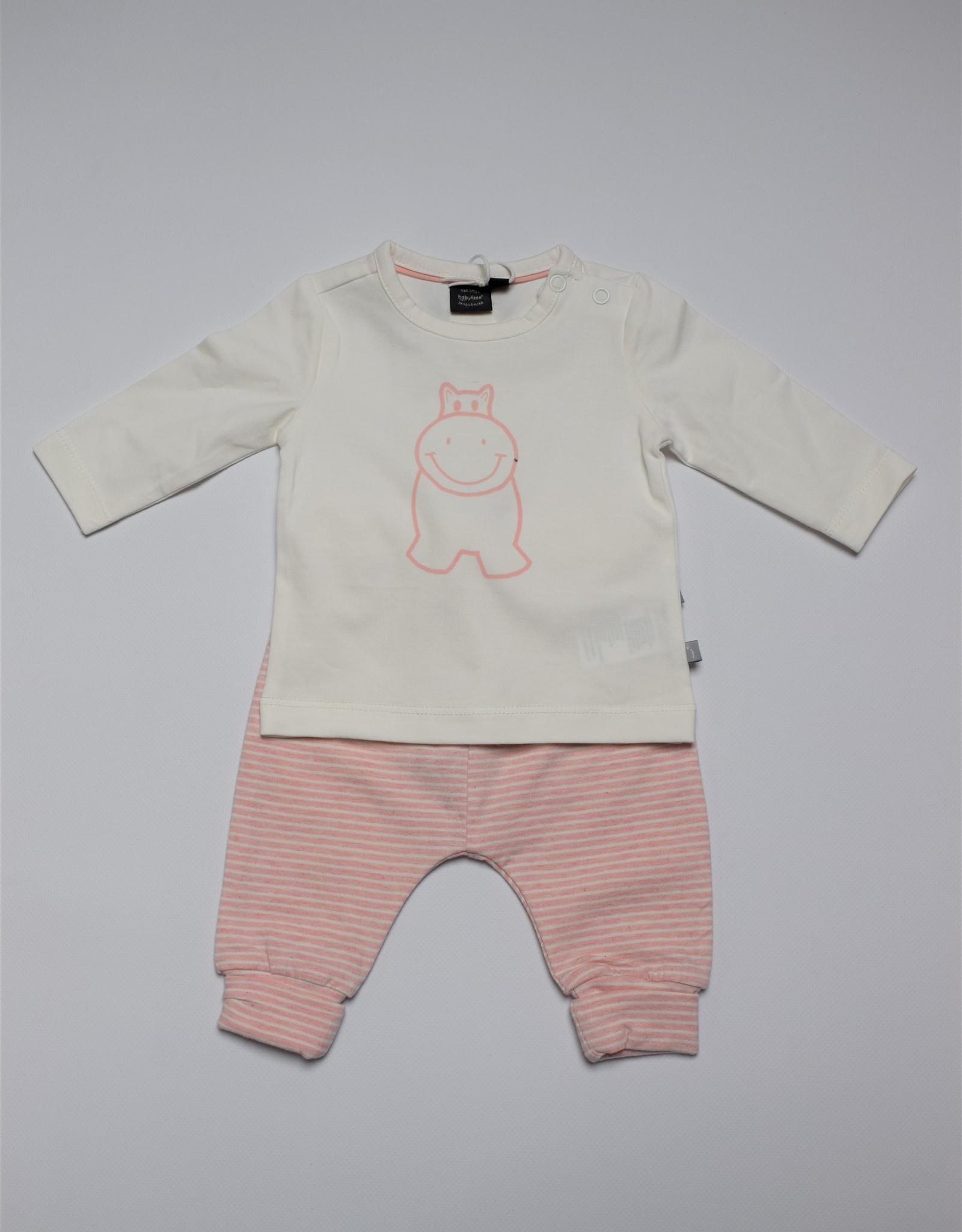 Babyface Meisjesset T-shirt LM ecru + broekje roos streep
