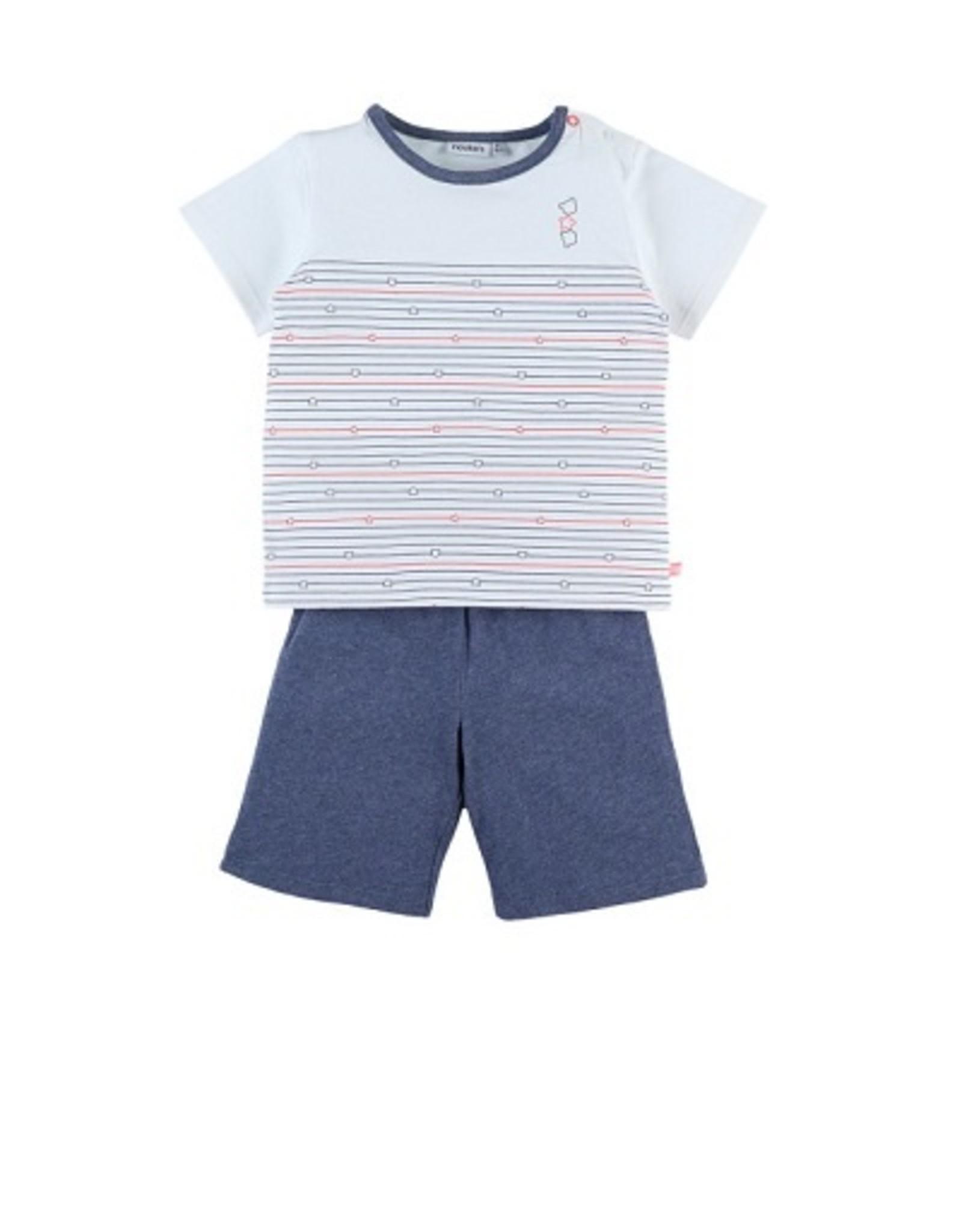 Noukie's Pyjama 2 delig  wit / streepje