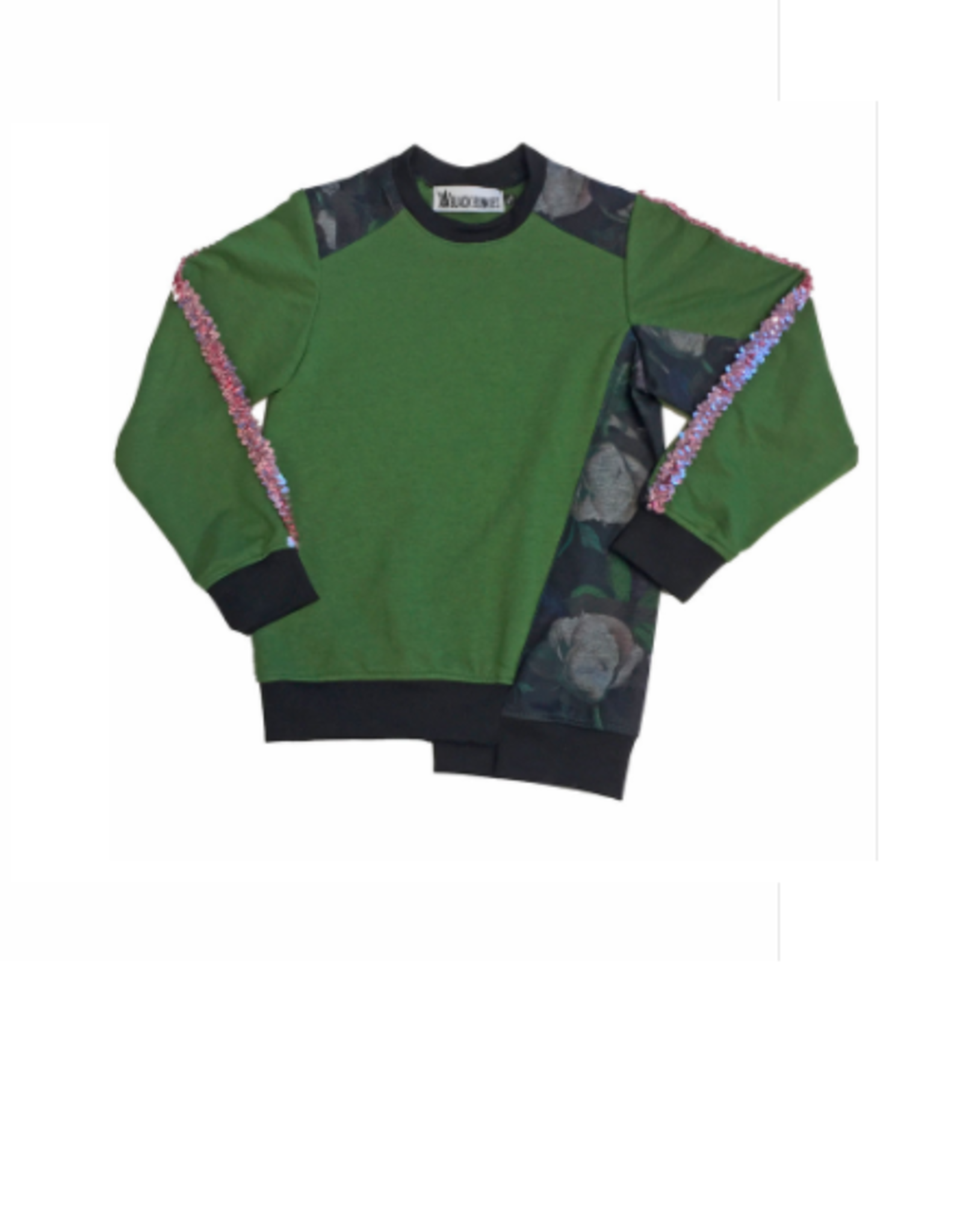 Too Many Bunnies Sweater green/ dark flowers Mick