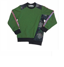 Too Many Bunnies Sweater green/ dark flowers