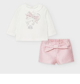 Mayoral Set short/t-shirt pink/ecru  dots