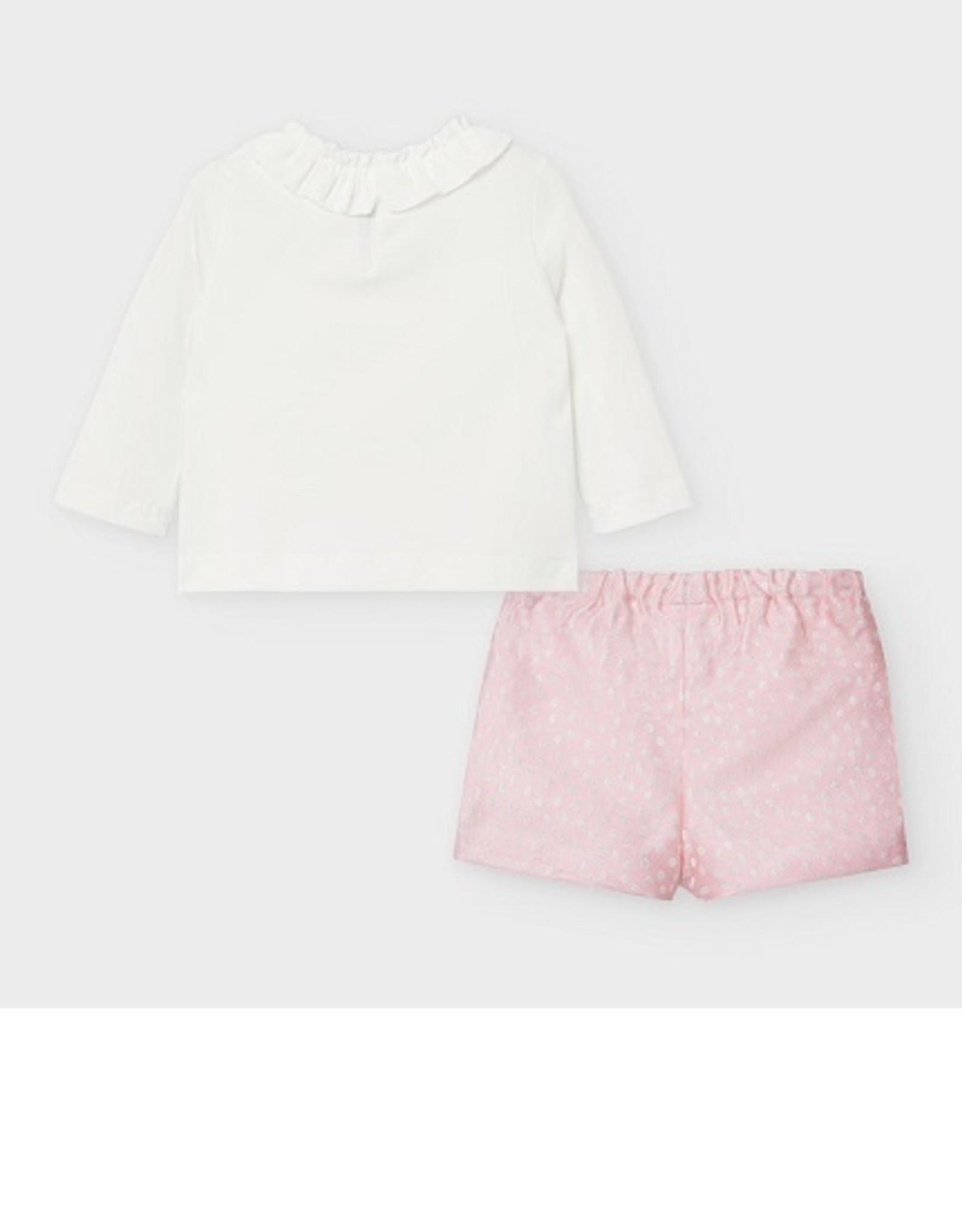 Mayoral Set short/t-shirt pink /ecru dots