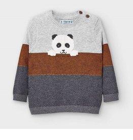 Mayoral Pull tricot grijs  met panda