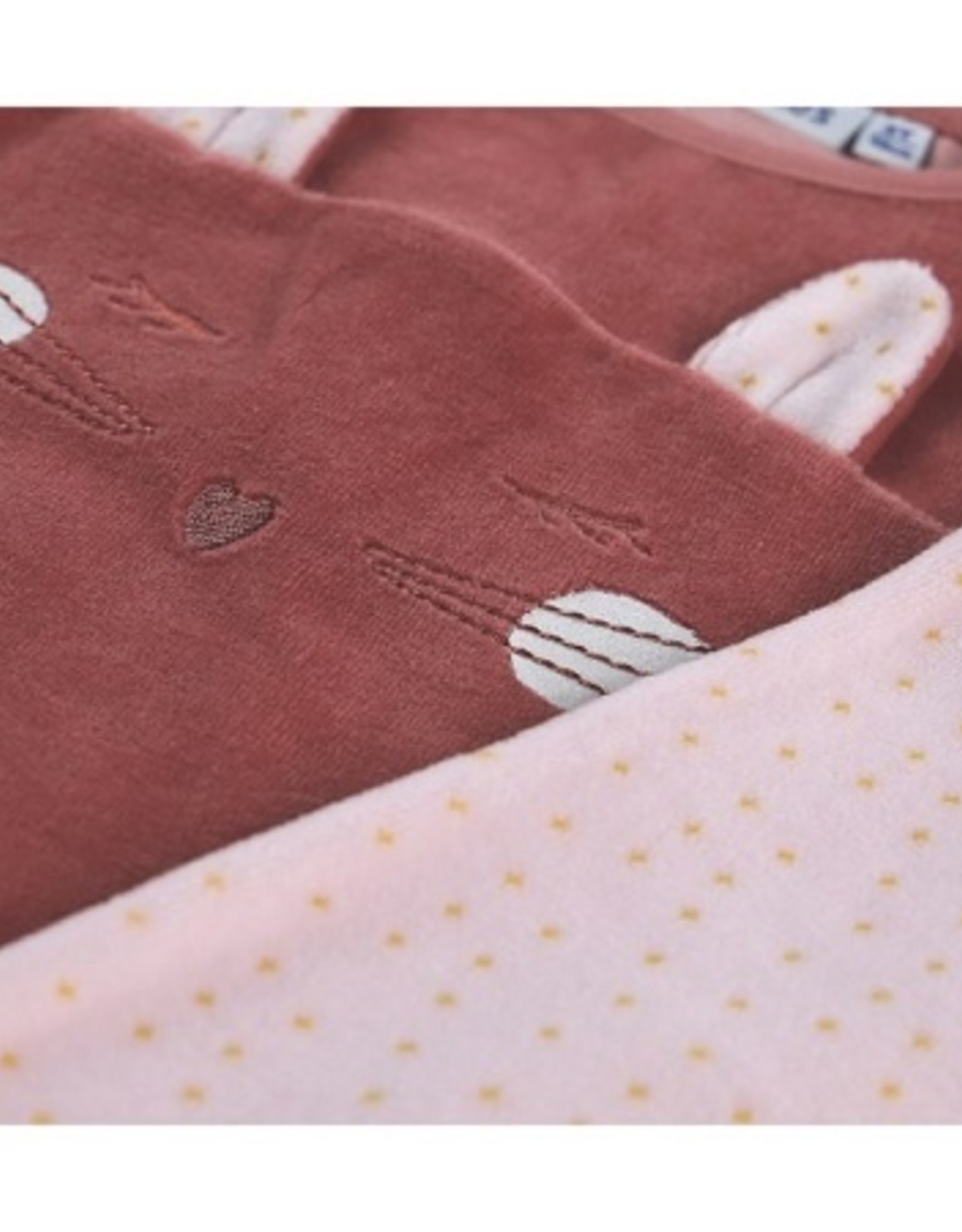 Noukie's Pyjama velours roos konijntje