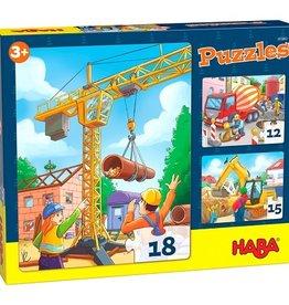 Haba 3 Puzzels Bouwvoertuigen