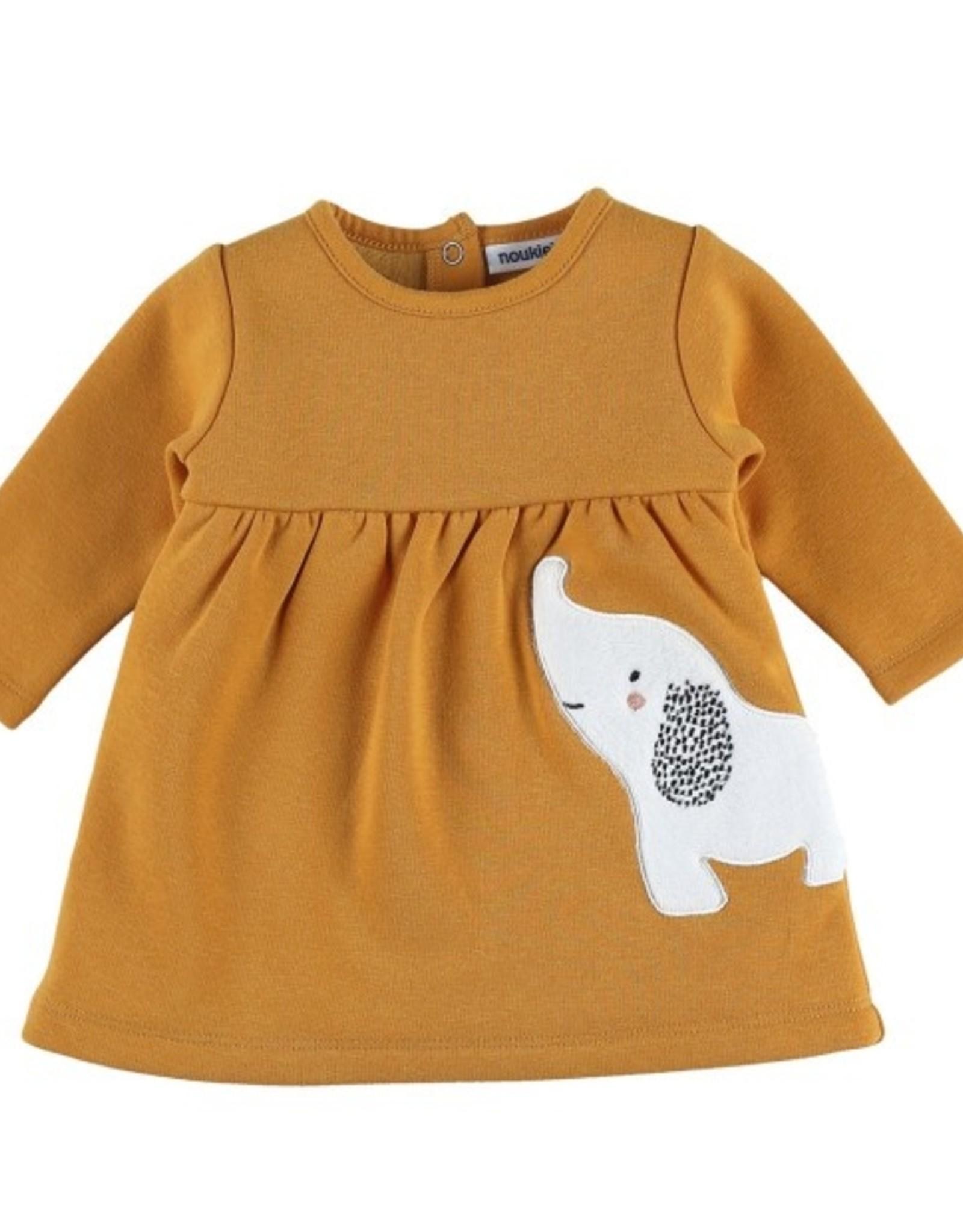 Noukie's Sweaterkleedje oker met olifant