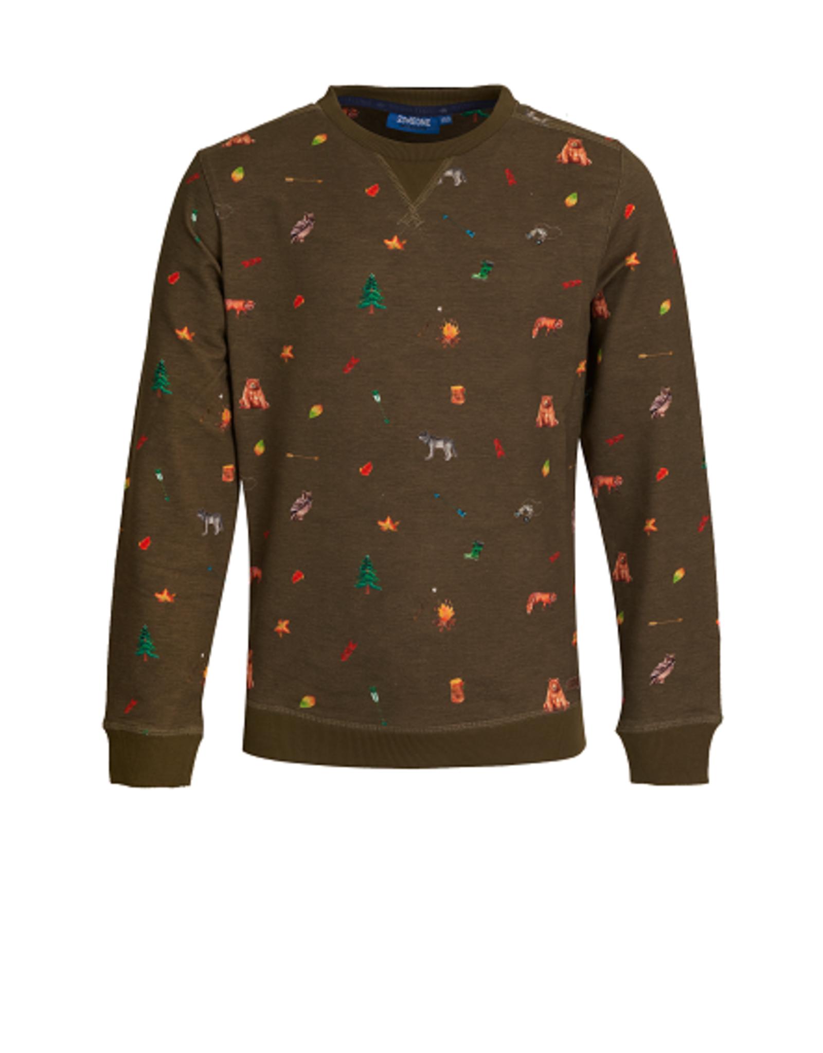 Someone Someone Sweater kaki mini print