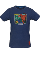 Someone T-shirt blauw dino prent