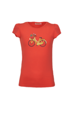 Someone T-shirt fluo coral met  fiets