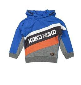 KokoNoko Sweater met kap cobalt/grijs