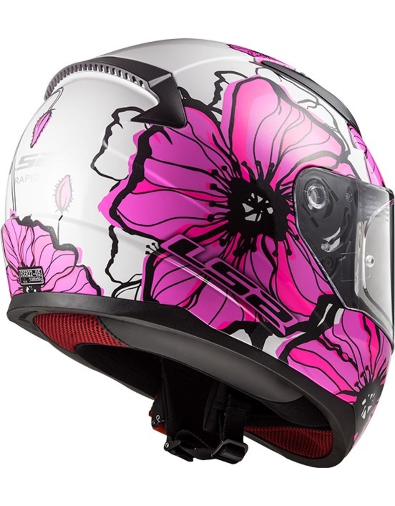 LS2 LS2 FF353 poppies wit/roze