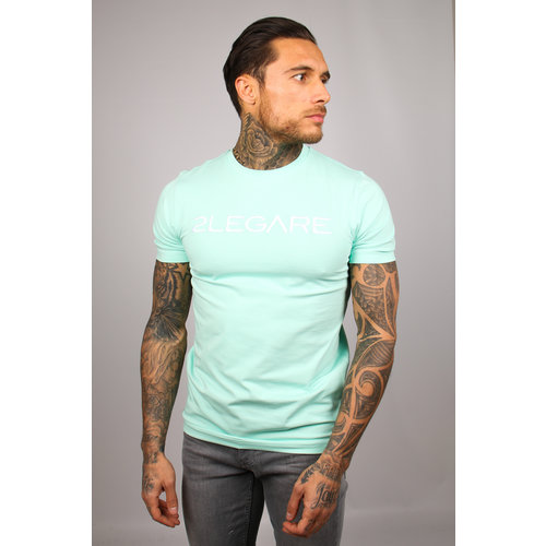2LEGARE Logo Embroidery Tee - Mint White