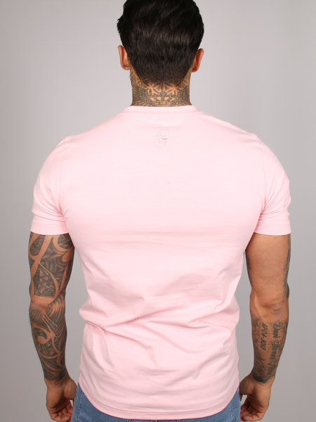 2LEGARE Logo Embroidery T-Shirt - Light Pink