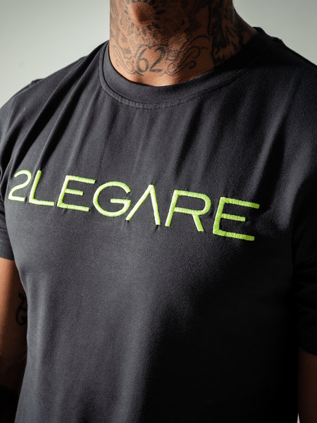 2LEGARE Logo Embroidery Tee - Antra/Neon Green