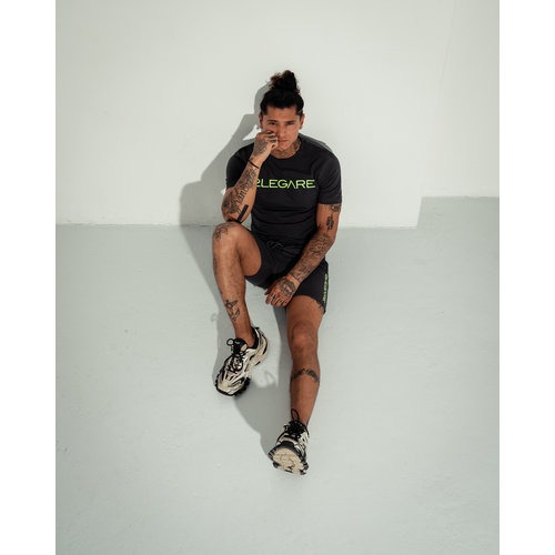 2LEGARE Logo Embroidery Tee - Antra/Neon Green