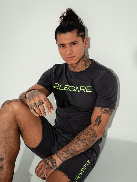 2LEGARE Logo Embroidery T-Shirt - Antra/Neon Green