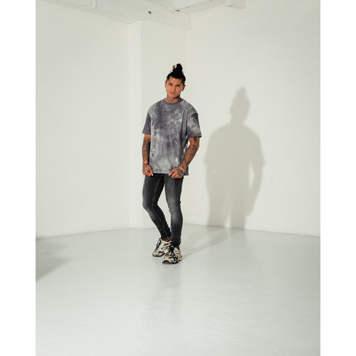 2LEGARE Oversized Tie Dye Tee - Light Grey