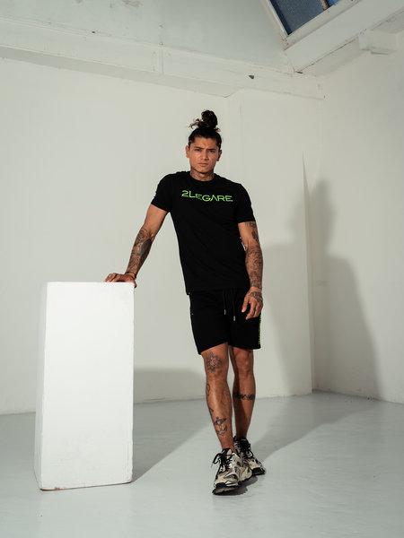 2LEGARE Embroidery T-Shirt - Black/Neon Green
