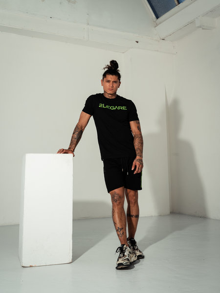 Logo Embroidery Tee - Black/Neon Green