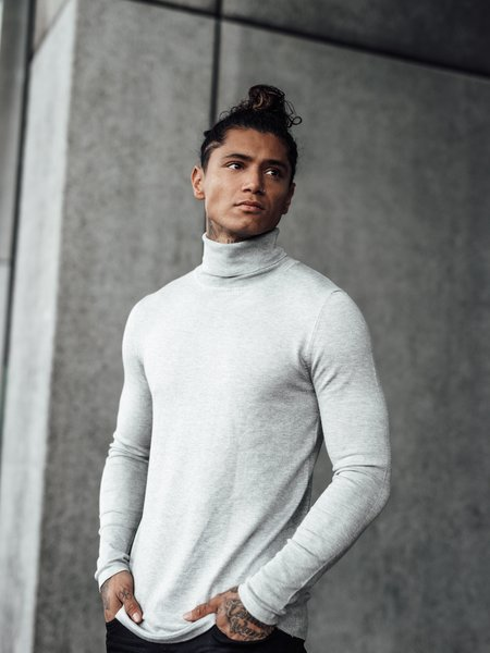 Turtleneck Knitwear - Light Grey