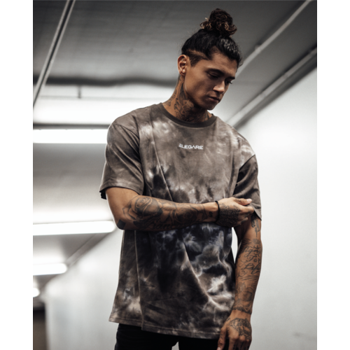 2LEGARE Oversized Tie Dye Tee - Dark Brown