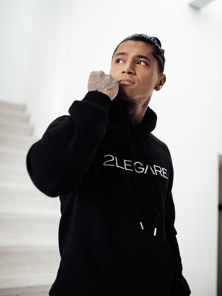 Logo Embroidery Hoodie - Black/White