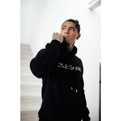 2LEGARE Logo Embroidery Hoodie - Black/White