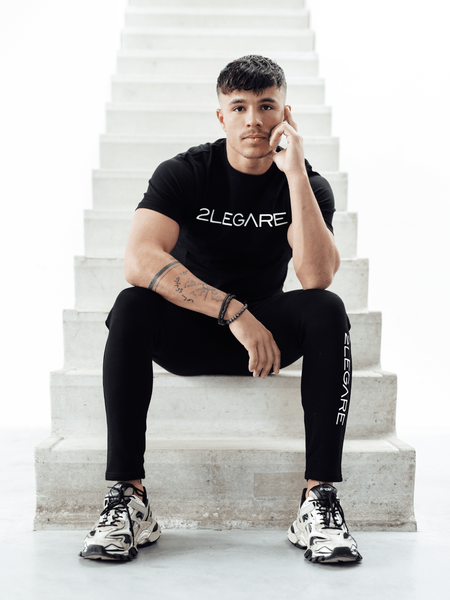 2LEGARE Embroidery T-Shirt - Black/White