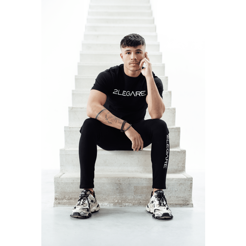 2LEGARE Logo Embroidery Tee - Black/White