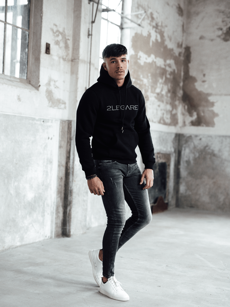 2LEGARE Logo Embroidery Hoodie - Black/Antra