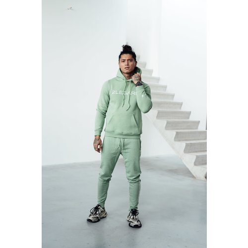 2LEGARE Logo Embroidery Tracksuit - Light Army/White