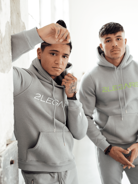 2LEGARE Embroidery Tracksuit - Light Grey/White