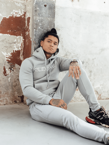 Logo Embroidery Tracksuit - Light Grey/White
