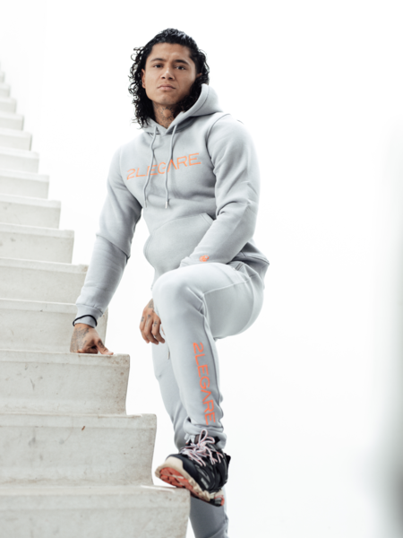 2LEGARE Logo Embroidery Hoodie - Light Grey/Neon Pink
