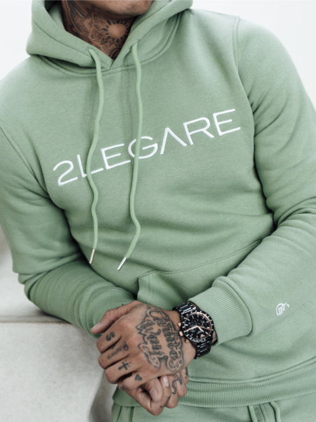 2LEGARE Logo Embroidery Hoodie - Light Army/White