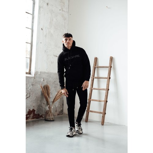 2LEGARE Logo Embroidery Tracksuit - Black/Antra