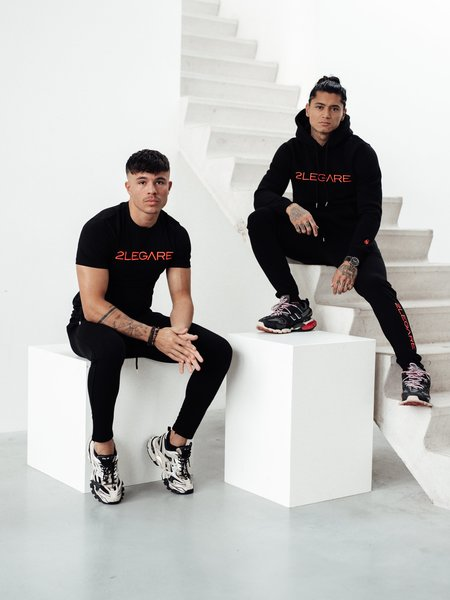 Embroidery Tracksuit - Black/Neon Pink
