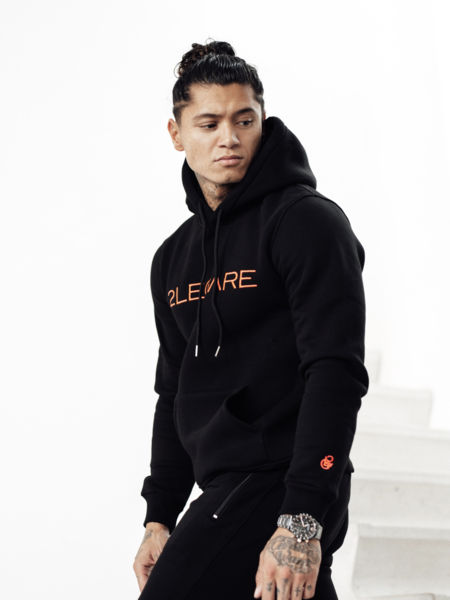 2LEGARE Embroidery Tracksuit - Black/Neon Pink