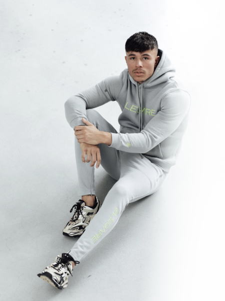2LEGARE Logo Embroidery Tracksuit - Light Grey/Neon Yellow