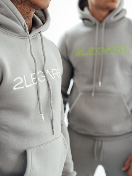 2LEGARE Embroidery Tracksuit - Light Grey/Neon Yellow